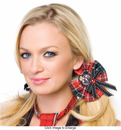 Plaid Schoolgirl Hair Bows with Crest