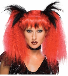 Two Tone Club Kid Wig in Red for $15.00