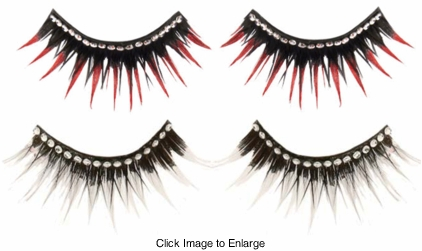 Gothic Lashes with Crystal Eyeliner and Color Dipped Tips