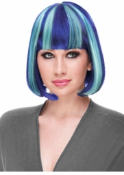 Blue and Light Blue Deluxe Bob Wig in Cool Colors for $19.99