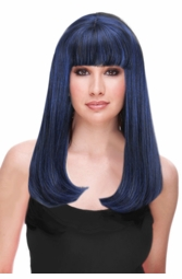 Blue and Black Glamour Wig in Mixed Colors for $29.99