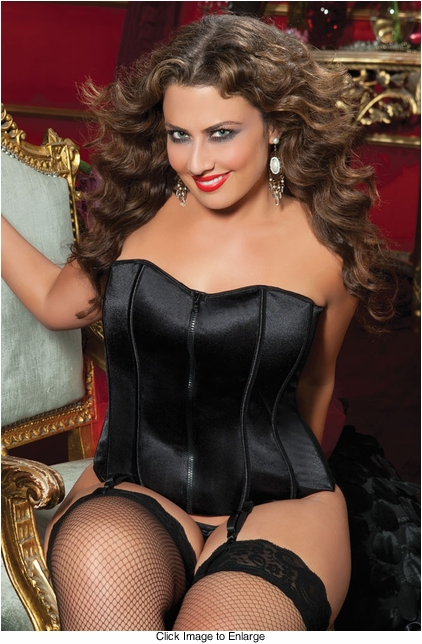 Plus Size Black Satin Corset with Zip Front
