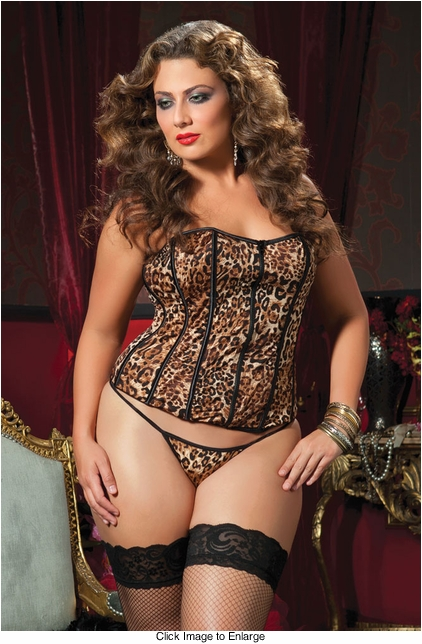 Plus Size Leopard Corset and Thong