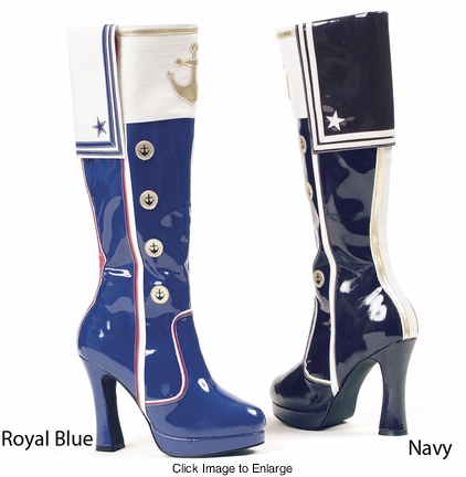 "4"" Sailor Girl Navy Blue Boots"