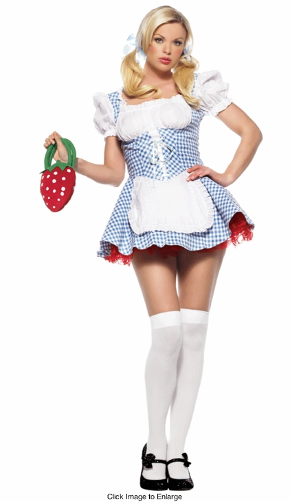 Lace Up Gingham Heidi Costume in Blue