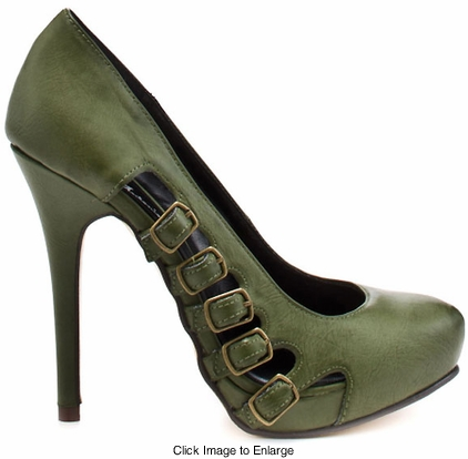 "4.5"" Buckle Side Green Pumps ""Langston"" from Michael Antonio"