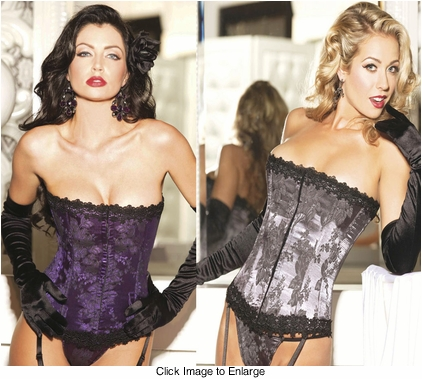 Classic Floral Brocade Corset with Thong in Purple or Pewter Grey (available up to size 50)