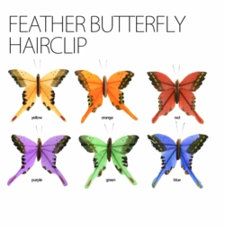 "3"" Feather Butterfly Hair Clip"