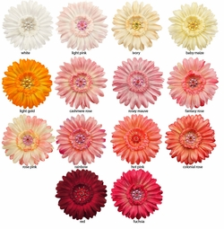 "3.5"" Gerber Daisy Flower Hair Clip with Rhinestone Center"