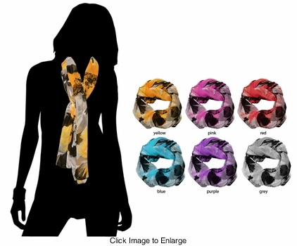 Sheer Scarf with Floral Design