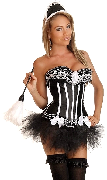 Corset French Maid Costume with Skirt, Hat and Feather Duster