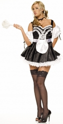 Sexy French Maid Halloween Costumes in Black Satin