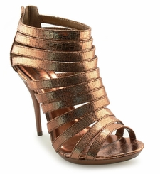 "4"" Strap Booties in Shiny Lizard Print ""Solana"" from Michael Antonio"