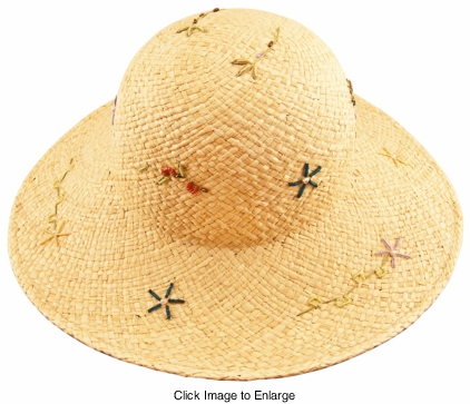 "Straw Hat with 4"" Brim and Bead Design"