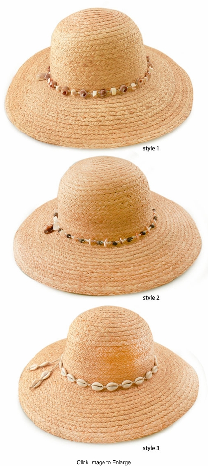 "4"" Wide Brim Straw Sun Hat with Seashell Trim"