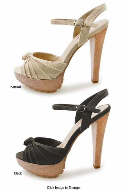 "SALE** 5"" Platform Sandals with Ruched Linen Straps"