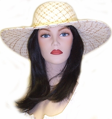 "4.75"" Wide Brim Sun Hat with Criss Cross Pattern in 5 Colors"