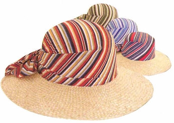 "4"" Wide Brim Straw Hat with Stripe Crown"