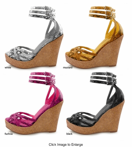 "4.5"" Platform Wedge Shoes Python Print ""Hinkley"" from Michael Antonio"