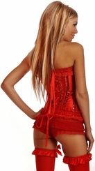 Red Sequin and Lace Corset with Lace-Up Back