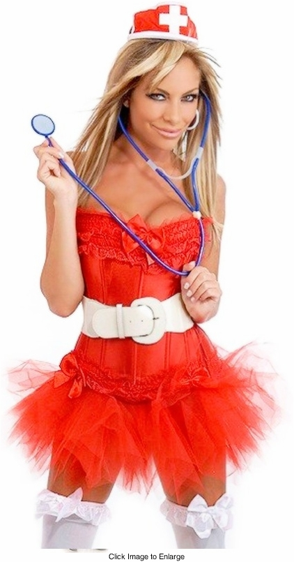 Darling Nurse Corset Costume with Hat, Stethoscope, Skirt and Belt
