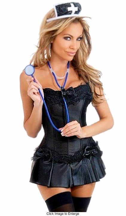 Corset Dark Nurse Costume with Skirt, Hat and Stethoscope
