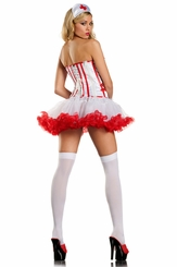 Corset 3-Piece White with Red Trims Nurse Costume
