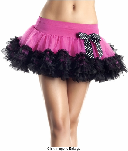 3-Layer Tulle Hot Pink Petticoat with Polka Dot Bow
