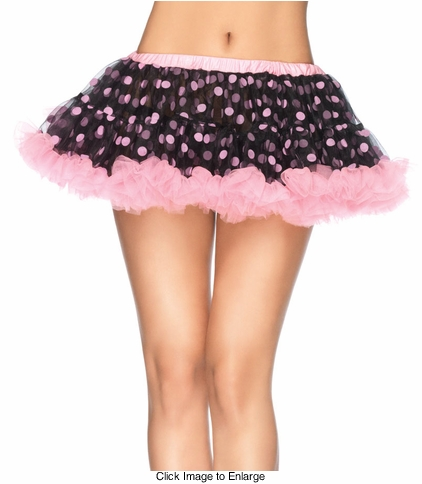 "9"" Long Black Chiffon Mini Petticoat with Pink Flocked Polka Dots"