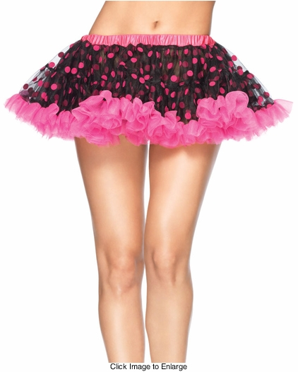 "9"" Long Black Chiffon Mini Petticoat with Hot Pink Flocked Polka Dots"