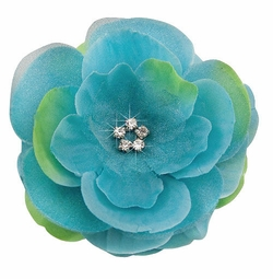 "3.5"" Luxe Silk Chiffon Turquoise Flower Hair Clip With Crystal Center"