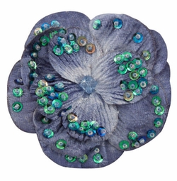 "2.75"" Blue Velvet Flower Hair Clip with Iridescent Sequins"