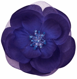 "3"" Flower Hair Clip with Crystal Center"