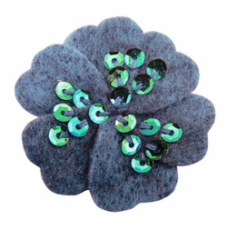 "1.75"" Felt Flower Hair Clips with Sequin Center in Militia for $5.00"