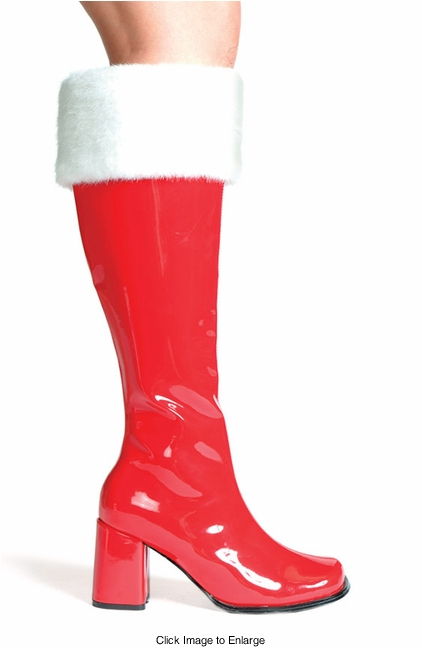 "3"" Gogo Boots in Red Faux Leather with Fur Trim"