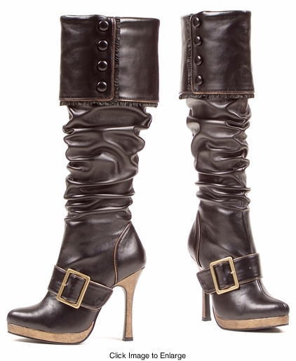 "4"" Ruched Royal Pirate Boots with Gold Tone Buckle"