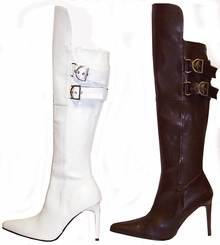 "4"" Faux Leather Knee High Boots with High Front"