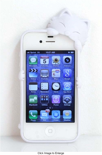 White Kitty Silicone iPhone Cover