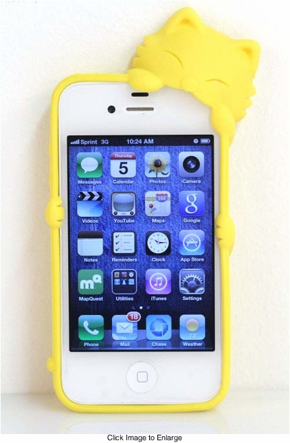 Yellow Kitty Silicone iPhone Cover