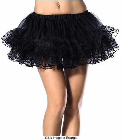 "12"" Long Polka Dot Petticoat in Black"