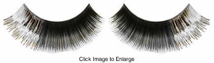 Black False Eyelashes with Silver Metallic Corner