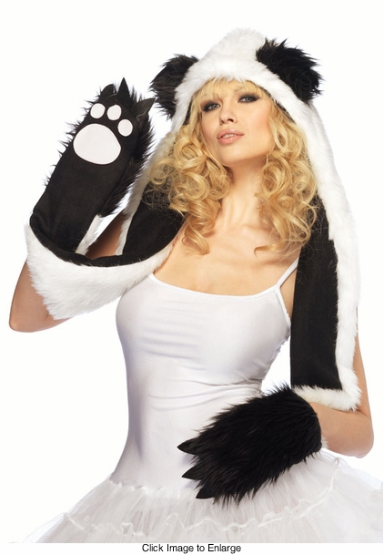 Plush Panda Hood with Paw Scarf