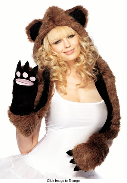 Plush Bear Hood with Warm Paw Pockets