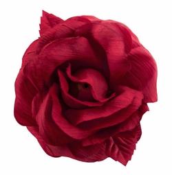 "3"" Crinkle Silk Red Flower Hair Clips"