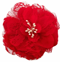 "4"" Retro Lace Flower Hair Clips in Red"