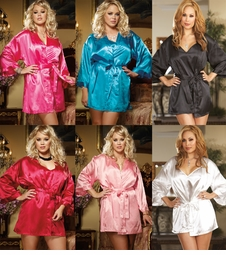 Plus Size Satin Robe and Low Back Slip