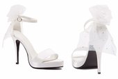 "4"" White Satin Shoes with Veil"