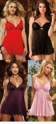 Deluxe Pleated Chiffon Babydoll and Thong