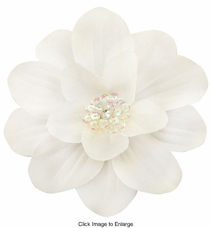 "4"" Wide White Flower Hair Clip with Sequin Center"