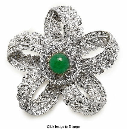 "2.15"" Wide Crystal and Green Stone Pin Broach"